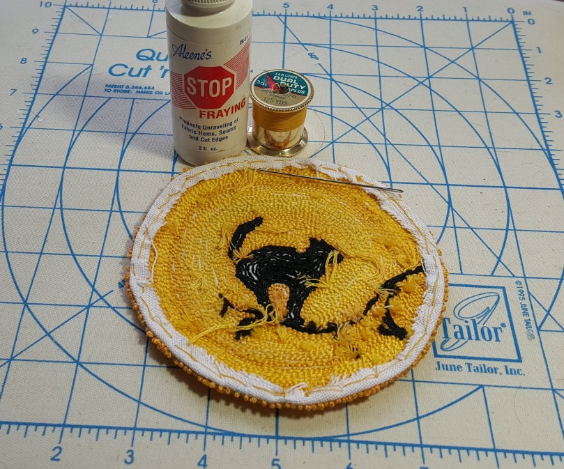 Dollhouse Miniature Cat In The Moon Rug In Punchneedle